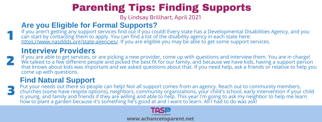 Parenting Tips APRIL_ Finding Support - white horizontal graphic