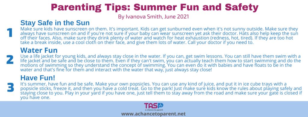 Parenting Tips JUNE Summer fun white horizontal graphic