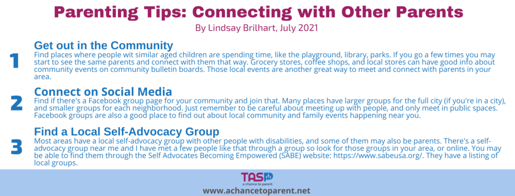 Copy of Parenting Tips JULY Connecting with other parents horizontal graphic