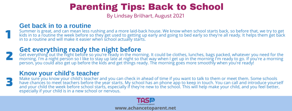 Parenting Tips AUGUST Back-to-School Tips horizontal graphic