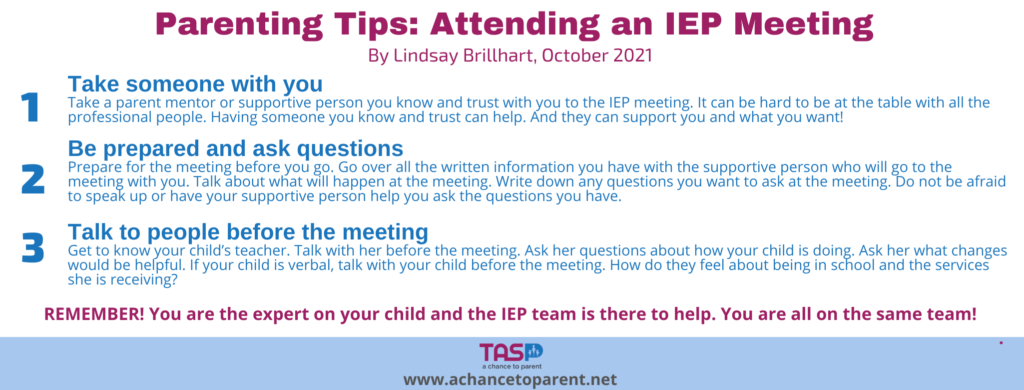 Parenting Tips OCT IEP Meeting